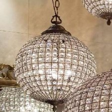 Crystal Globe Chandelier Antique Brass - Medium
