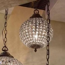 Crystal Globe Chandelier Antique Brass - Small