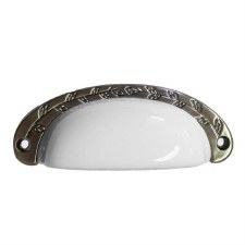 Porcelain Cup Handle White & Pewter