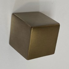 Aston Cube Cupboard Knob 25mm Antique Brass Unlacquered