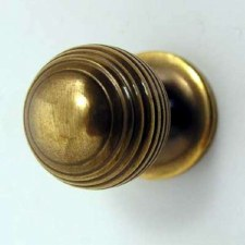 Reeded Cupboard Door Knob Antique Brass Unlacquered
