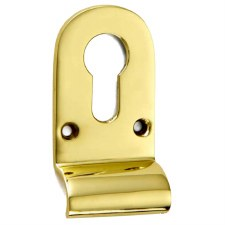 Croft Cylinder Pull 1774 Euro Profile Polished Brass Unlacquered