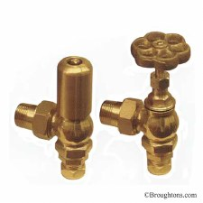 Daisy Radiator Valves Satin Brass Lacquered