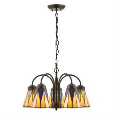 Interiors 1900 Dark Star Tiff 5 Light Down Pendant 74359