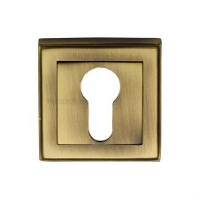 Heritage DEC7020 Square Euro Escutcheon Antique Brass Lacquered