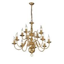 Flemish Chandelier Light 12 Lights Polished Brass