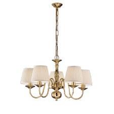 Flemish Chandelier Light 5 Lights Polished Brass
