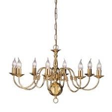 Flemish Chandelier Light 8 Lights Polished Brass