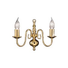 Flemish Double Wall Light Polished Brass