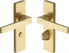 Heritage Delta Bathroom Door Handles DEL6030 Satin Brass Lacquered