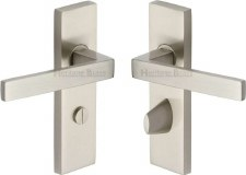 Heritage Delta Bathroom Door Handles DEL6030 Satin Nickel
