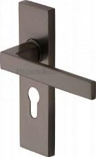 Heritage Delta Euro Lock Door Handles DEL6048 Matt Bronze