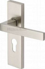 Heritage Delta Euro Lock Door Handles DEL6048 Satin Nickel