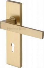 Heritage Delta Door Lock Handles DEL6000 Satin Brass Lacquered