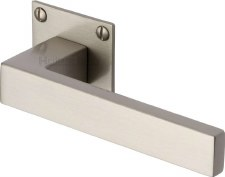 Heritage Delta LP Sq Rose Door Handles BAU1928 Satin Nickel