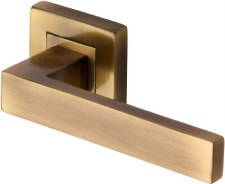 Heritage Delta Square Rose Door Handles SQ5420 Antique Brass Lacq