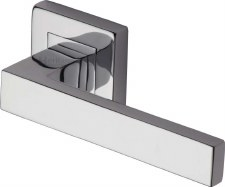 Heritage Delta Square Rose Door Handles SQ5420 Polished Chrome