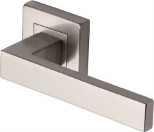 Heritage Delta Square Rose Door Handles SQ5420 Satin Nickel