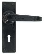 From The Anvil Deluxe Door Handles Lock Plate Black