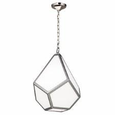 Feiss Diamond Medium Pendant Light Polished Nickel