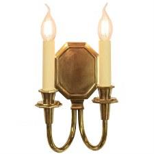 Diane Double Wall Light, Light Antique Brass