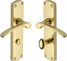 Heritage Diplomat Bathroom Door Handles DIP7830 Polished Brass Lacq
