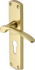 Heritage Diplomat Euro Lock Door Handles DIP7848 Polished Brass Lacq