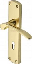 Heritage Diplomat Door Lock Handles DIP7800 Polished Brass Lacquered