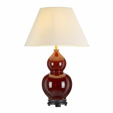 Elstead Harbin Gourd Table Lamp Oxblood Red with Shade
