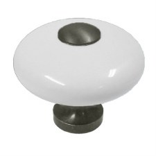 Cupboard Knob Pewter & White