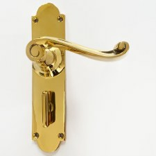 Aston Bathroom Door Handle Scroll Lever Polished Brass Unlacquered