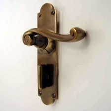 Victorian Scroll Bathroom Door Handles Antique Brass Unlacquered