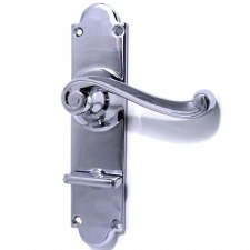 Aston Victorian Scroll Bathroom Door Handles Polished Chrome