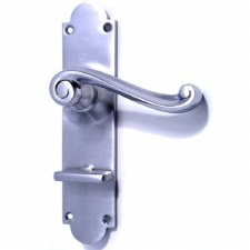 Aston Victorian Scroll Bathroom Door Handles Satin Chrome