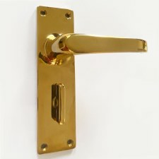 Aston Bathroom Door Handles 5257 Polished Brass Unlacquered