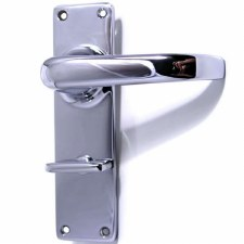 Victorian Plain Bathroom Door Handles Polished Chrome