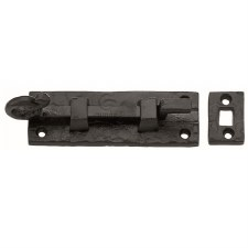 Heritage Tudor Door Bolt Necked TC159 102mm Black Ironwork