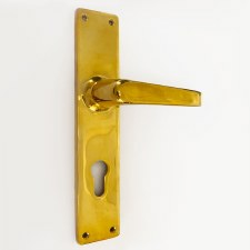 Aston Door Euro Handles Polished Brass Unlacquered