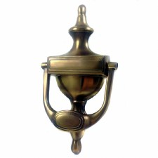 Aston Stepped Urn Door Knocker Antique Brass Unlacquered