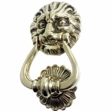 Lion Door Knocker 271 Polished Brass