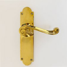 Aston Door Latch Handle Scroll Lever Polished Brass Unlacquered