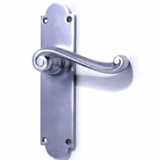 Victorian Scroll Door Latch Handles Satin Chrome