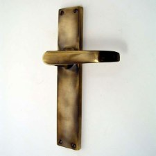 Door Handles Long Plate Antique Brass Unlacquered