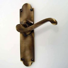 Aston Victorian Door Handles Antique Brass Unlacquered