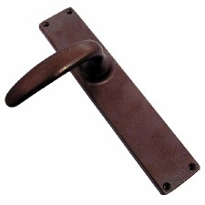 Aston Long Plate Door Handles Solid Rustic Bronze