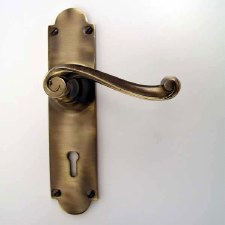 Victorian Scroll Door Handles Lock Plate Antique Brass Unlacquered