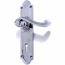 Aston Victorian Scroll Door Handles Lock Plate Polished Chrome