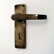 Door Handles Lock Plate Antique Brass Unlacquered