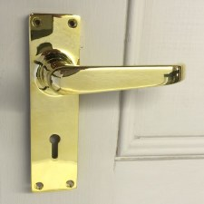 Aston Door Lock Handle 5252 Polished Brass Unlacquered
