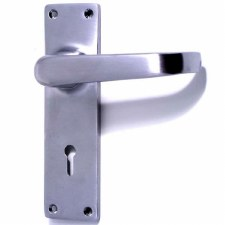 Door Handles Lock Plate Satin Chrome